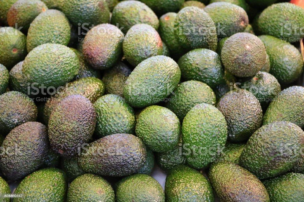 Ripe avocados on the market in Fremantle, Western Australia stock photo