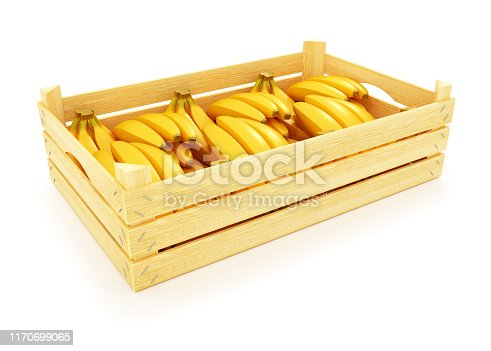 istock Ripe bananas in a wooden box 1170699065