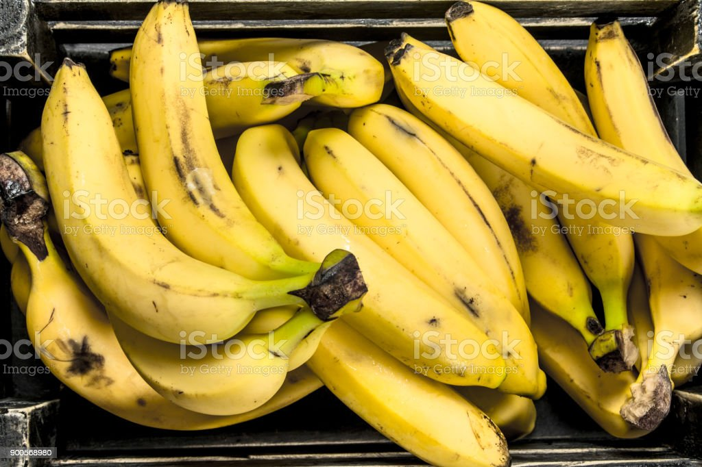 Ripe bananas in an old box. stock photo