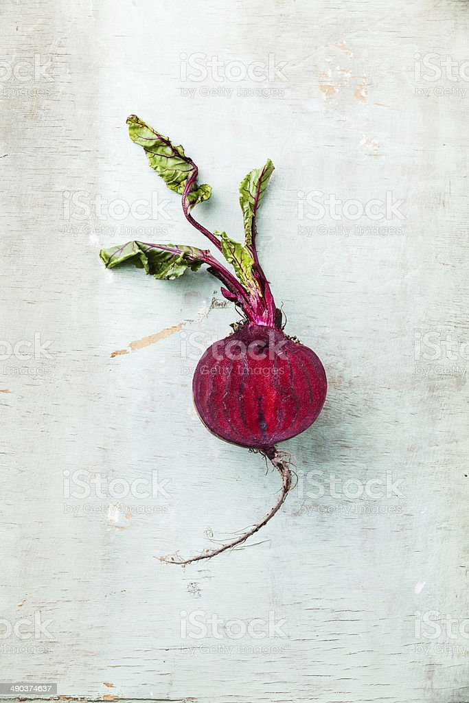 Ripe beet with leaves stock photo