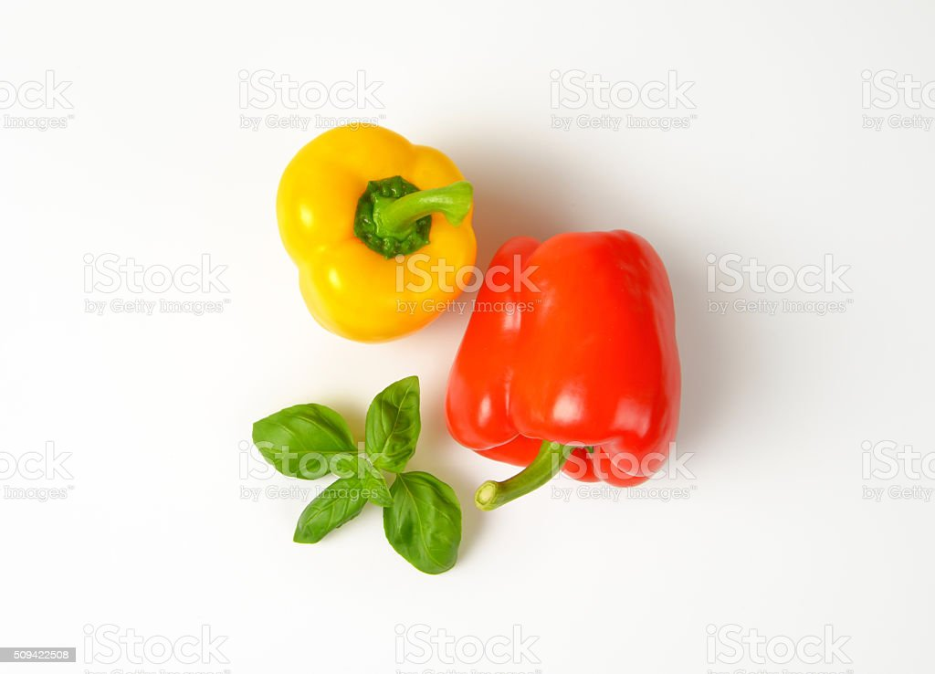 ripe bell peppers stock photo