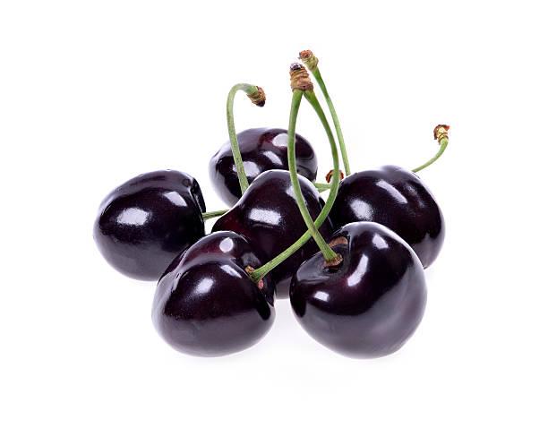 Ripe Black Cherries Stock Photo