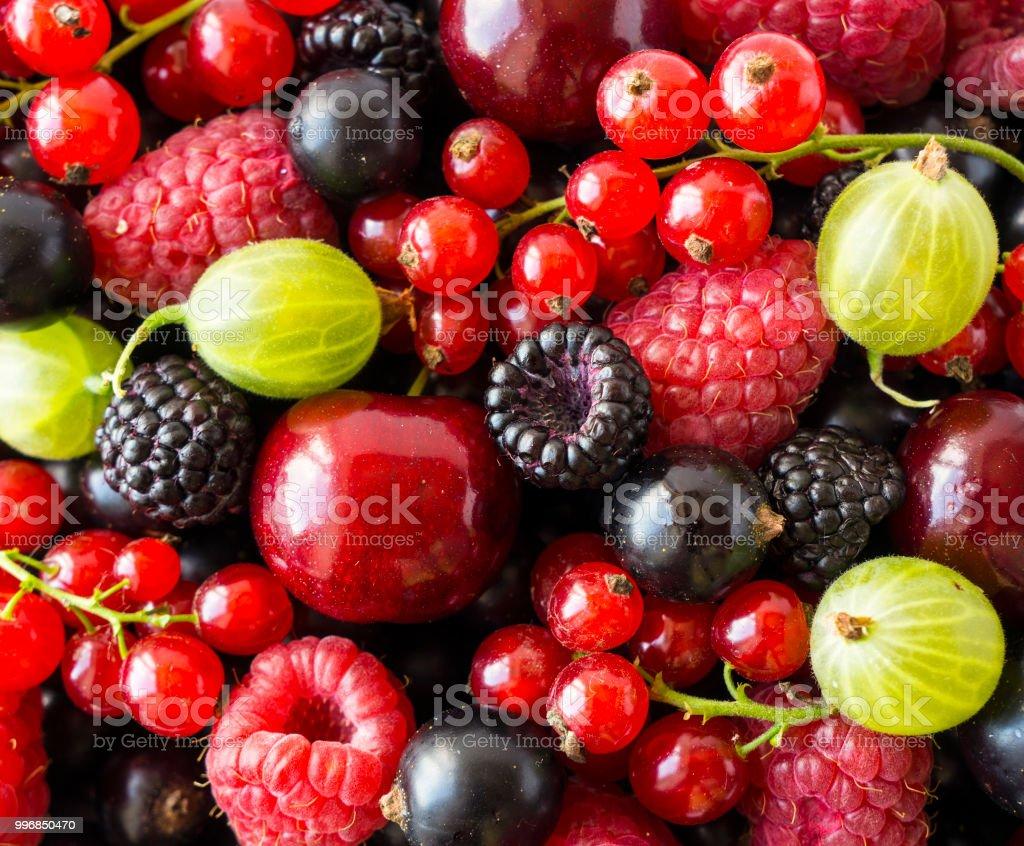 Ripe Blackberries Blackcurrants Cherries Red Currants Raspberries And Gooseberries Mix Berries Fruits Top View Background