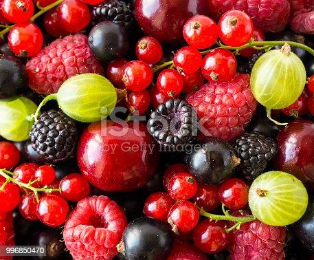 Ripe Blackberries Blackcurrants Cherries Red Currants Raspberries And Gooseberries Mix Berries Fruits Top View Background Various