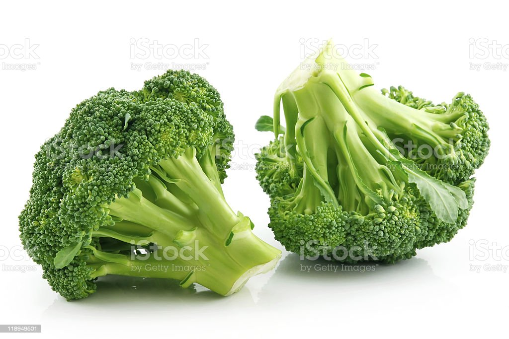 Ripe Broccoli Cabbage Isolated on White stok fotoğrafı