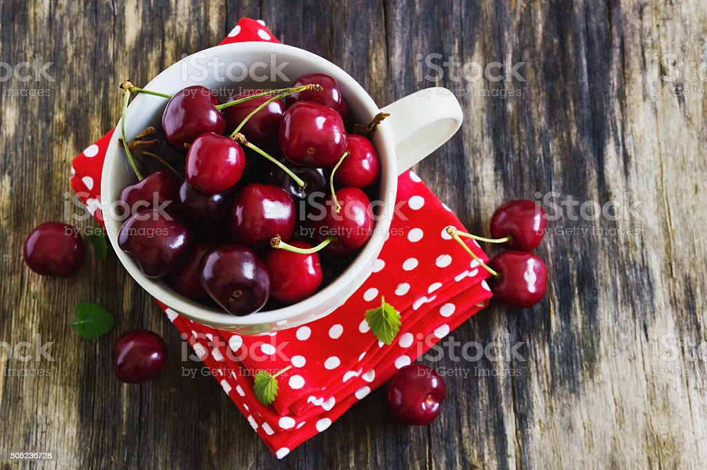 Ripe Cherries In A Cup Stock Photo - Download Image Now - iStock