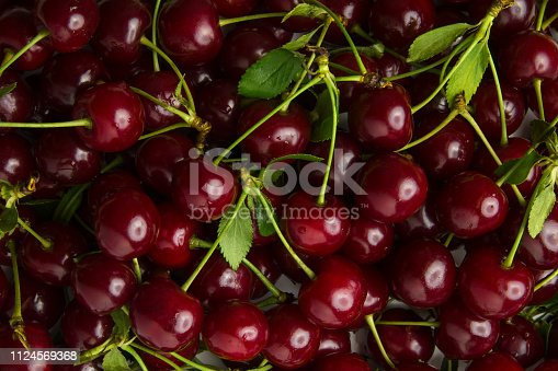 istock Ripe cherry, a lot of berries as a background texture close-up 1124569368