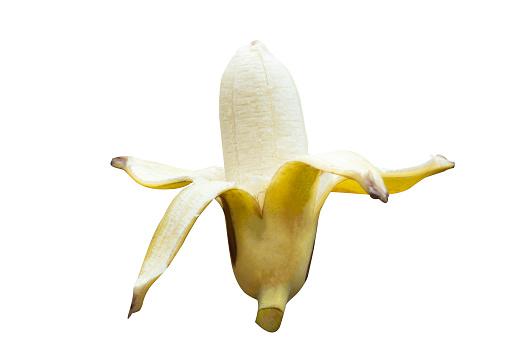 Ripe Cultivated Banana Half Peeled On White Background With Clipping Path - zdjęcia stockowe i więcej obrazów Banan