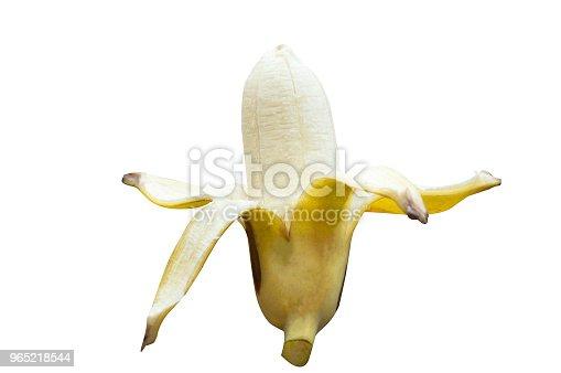 Ripe Cultivated Banana Half Peeled On White Background With Clipping Path - Stockowe zdjęcia i więcej obrazów Banan