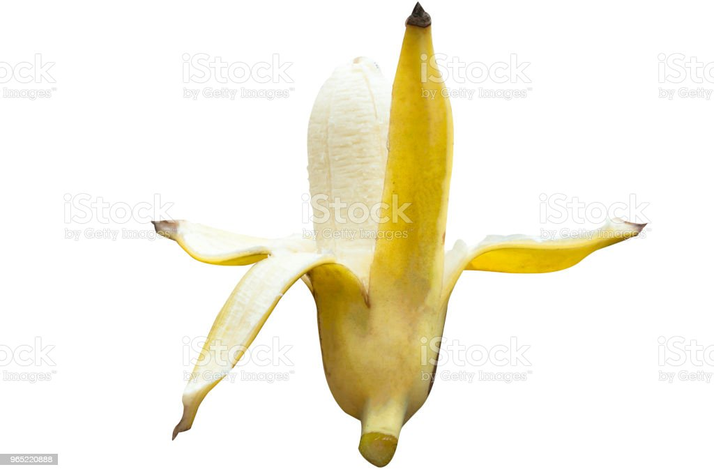 Ripe cultivated banana half peeled on white background with clipping path royalty-free stock photo