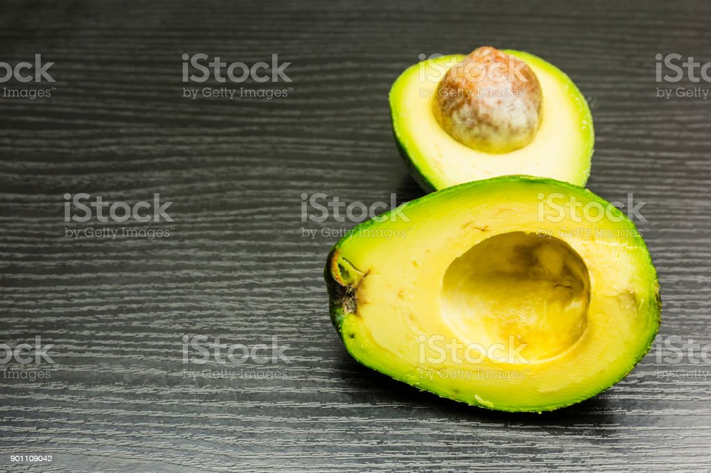 Ripe cut avocado. stock photo