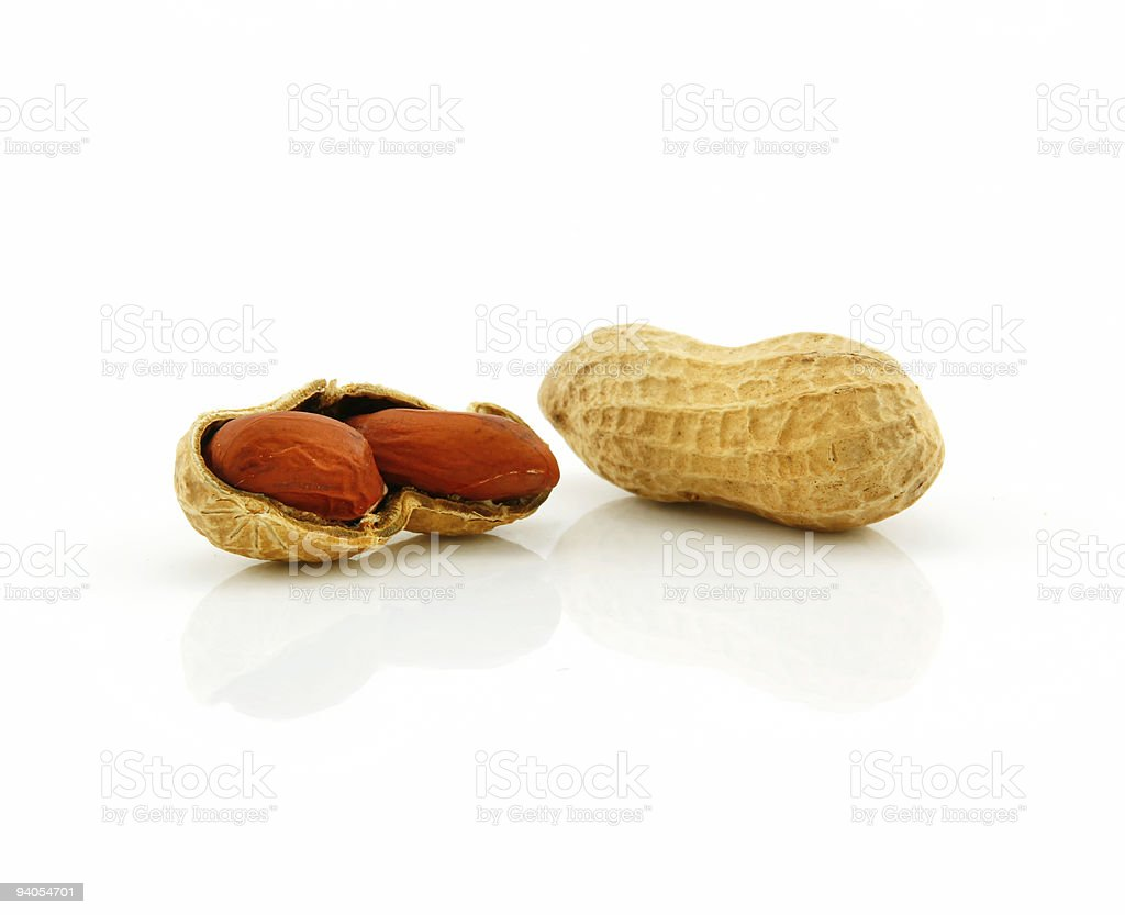 Ripe Dried Peanut Isolated on White royalty-free stock photo