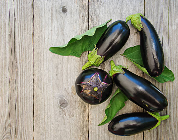 Ripe eggplants on a wooden background. Top view, flat lay. Ripe eggplants on a wooden background. Top view, flat lay. eggplant stock pictures, royalty-free photos & images