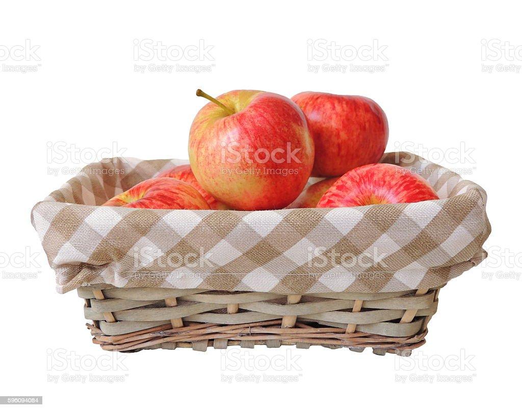 Ripe fresh garden apples in a basket royalty-free stock photo