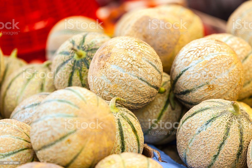 Ripe fresh melons pile in a farmers market royalty-free stock photo
