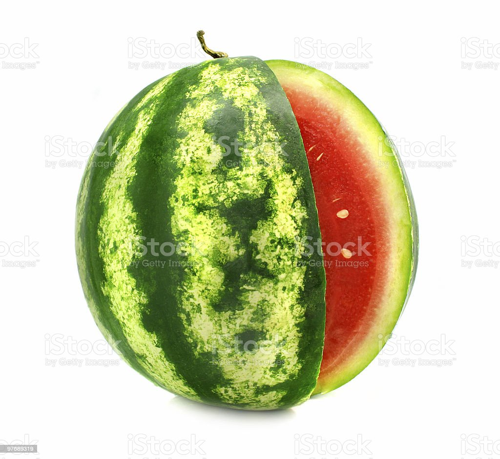 ripe fruit water-melon with cut is isolated  Berry Fruit Stock Photo