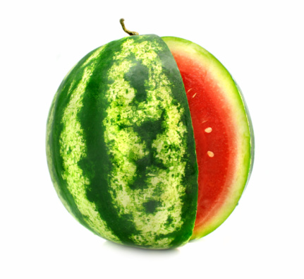 Ripe Fruit Watermelon With Cut Is Isolated Stock Photo - Download Image Now