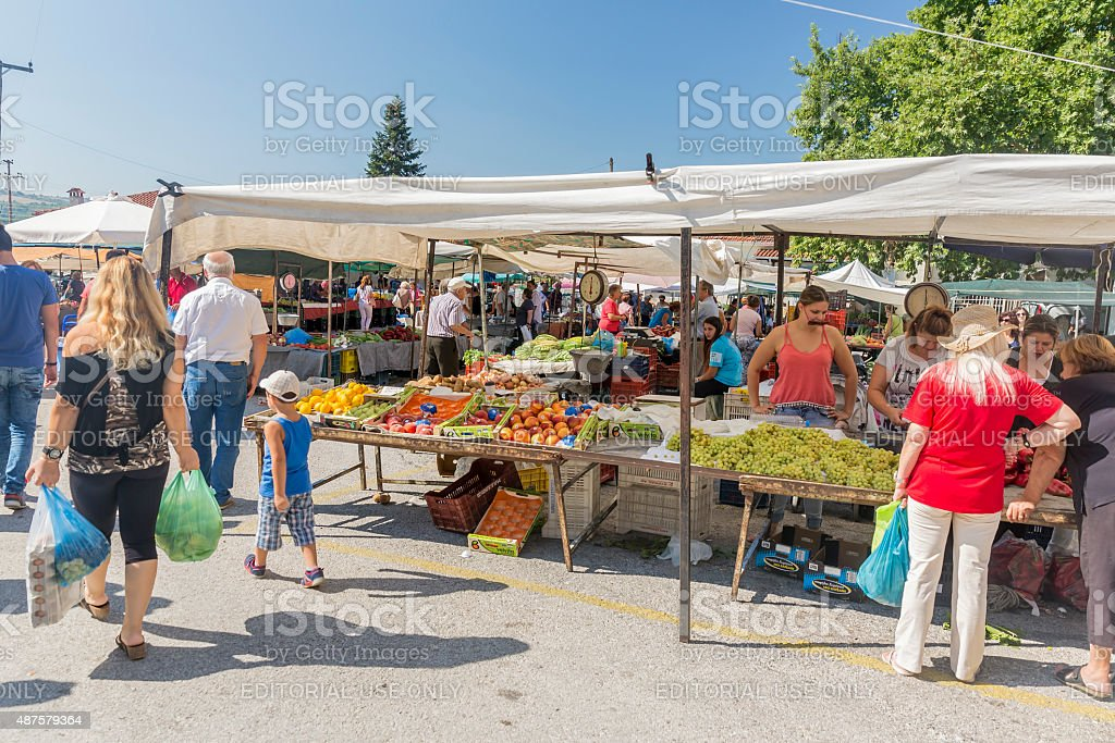 Ripe fruits stacked at a local market in Greece stock photo
