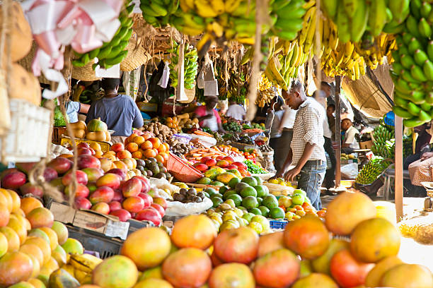 Ripe fruits stacked at a local market in Nairobi. stock photo