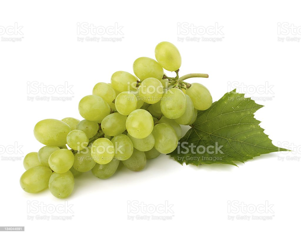 Ripe grape whith leaf stock photo