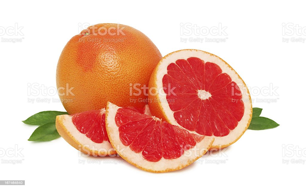 Ripe grapefruits with leaves (isolated) royalty-free stock photo