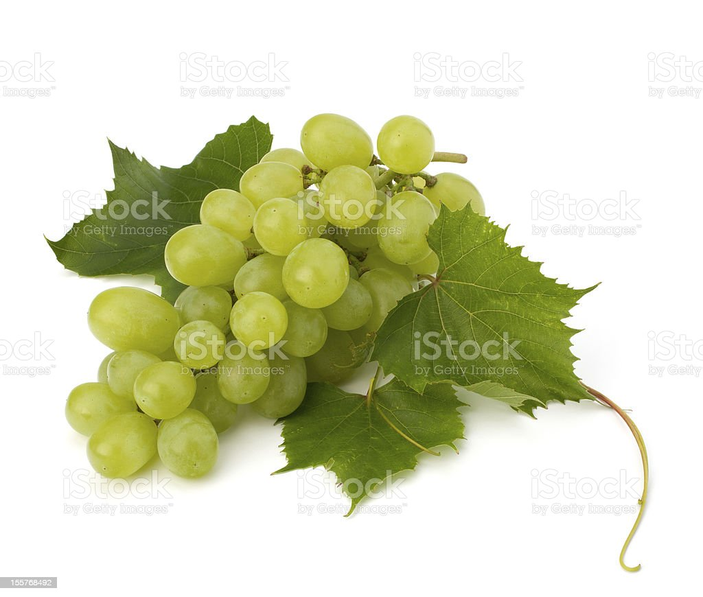 Ripe green grapes with leaf against white background stock photo