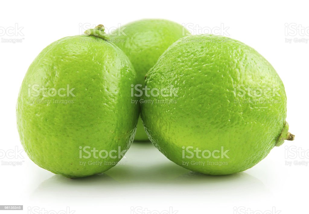 Ripe Green Lime Isolated on White royalty-free stock photo