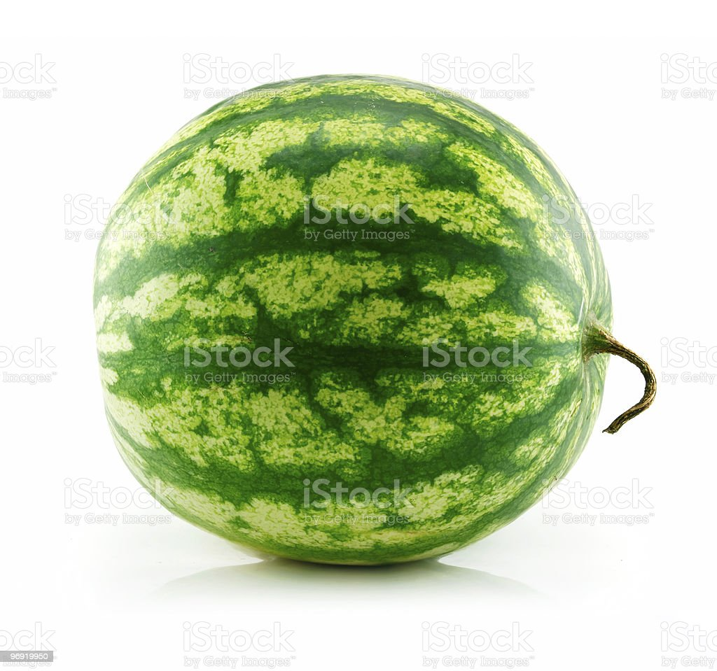 Ripe Green Watermelon Isolated on White royalty-free stock photo
