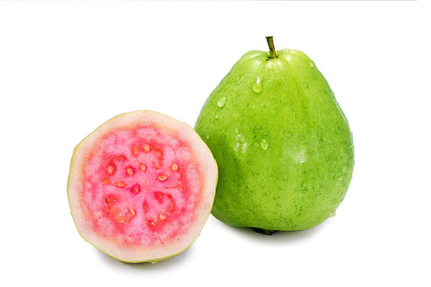 Ripe guava on white background Ripe guava on white background guava stock pictures, royalty-free photos & images