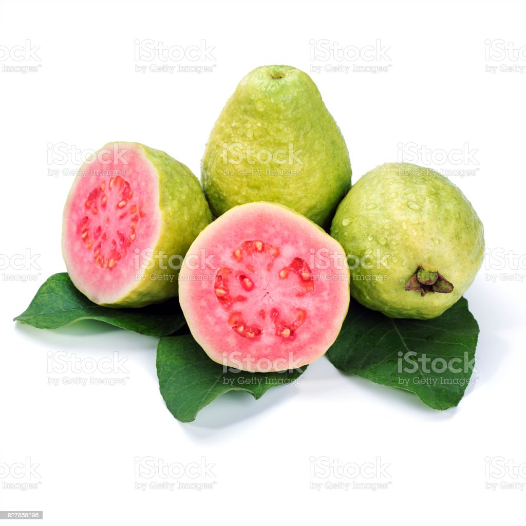 Ripe guava with leaves on white background stock photo