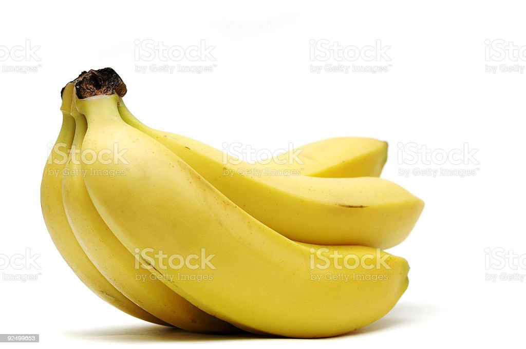 ripe hand of bananas isolated against white royalty-free stock photo