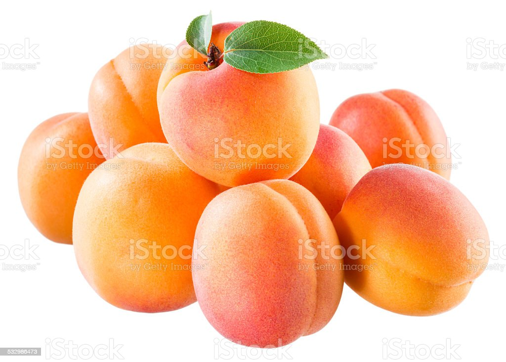 Ripe juicy apricots isolated on white background stock photo