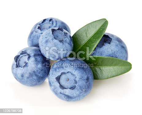 853493518 istock photo Ripe juicy blueberries with leaves isolated on a white background. 1226798708