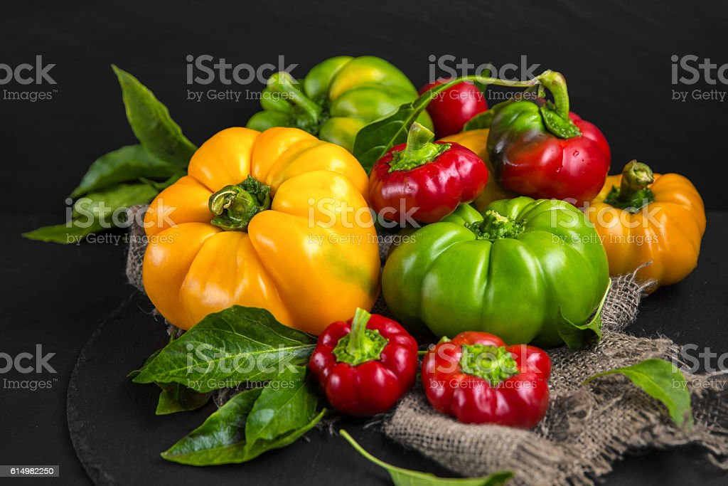 Ripe juicy sweet pepper.  Colorful still life. stock photo