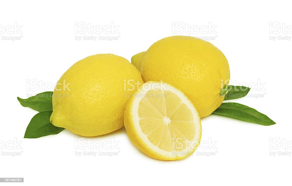 Ripe lemons with leaves (isolated) royalty-free stock photo