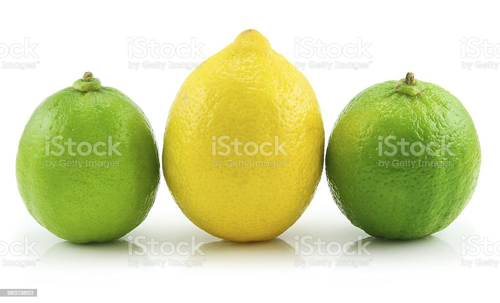 Ripe Lime and Lemon Isolated on White royalty-free stock photo