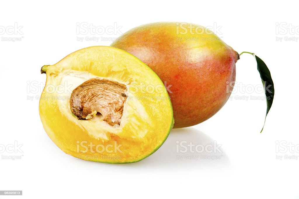 Ripe mango fruits with leaves isolated royalty-free stock photo