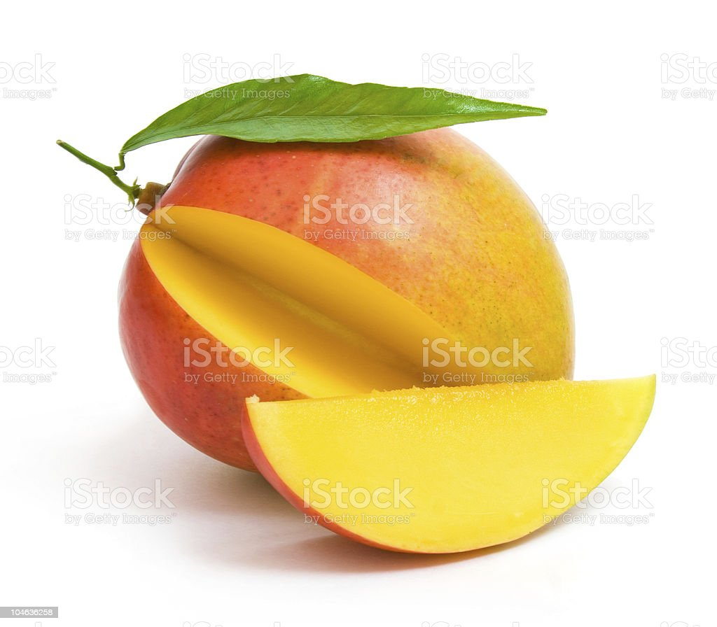 Ripe mango with slice removed royalty-free stock photo