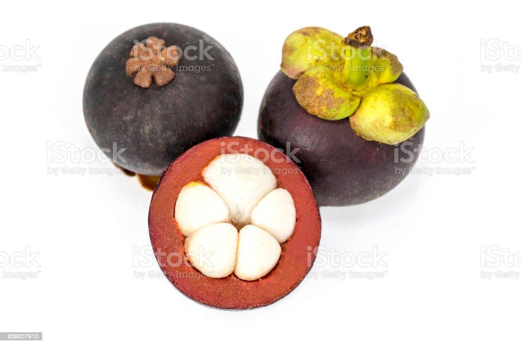 Ripe mangosteen fruit isolated on white background. stock photo