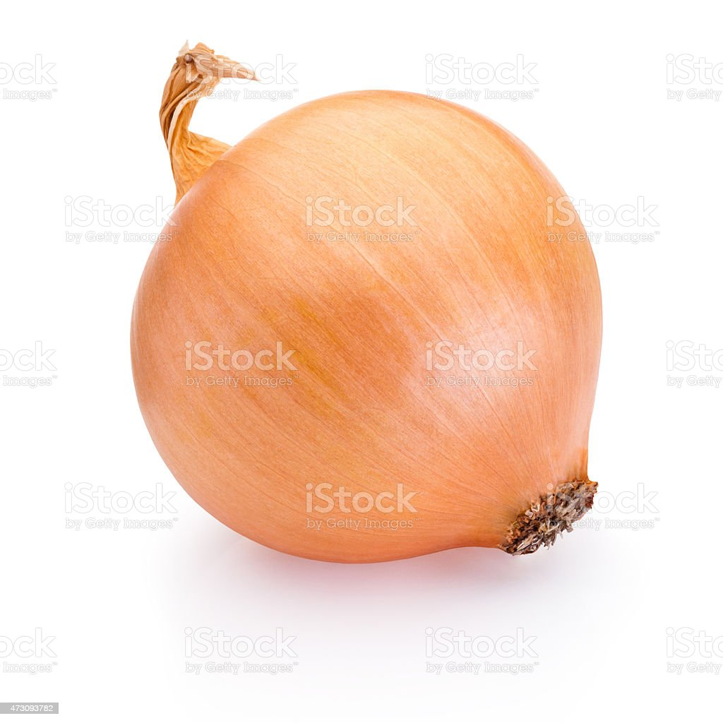 Ripe onion isolated on white background stock photo