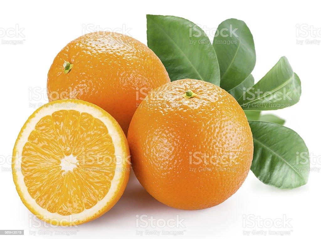 Ripe orange on a white background royalty-free stock photo