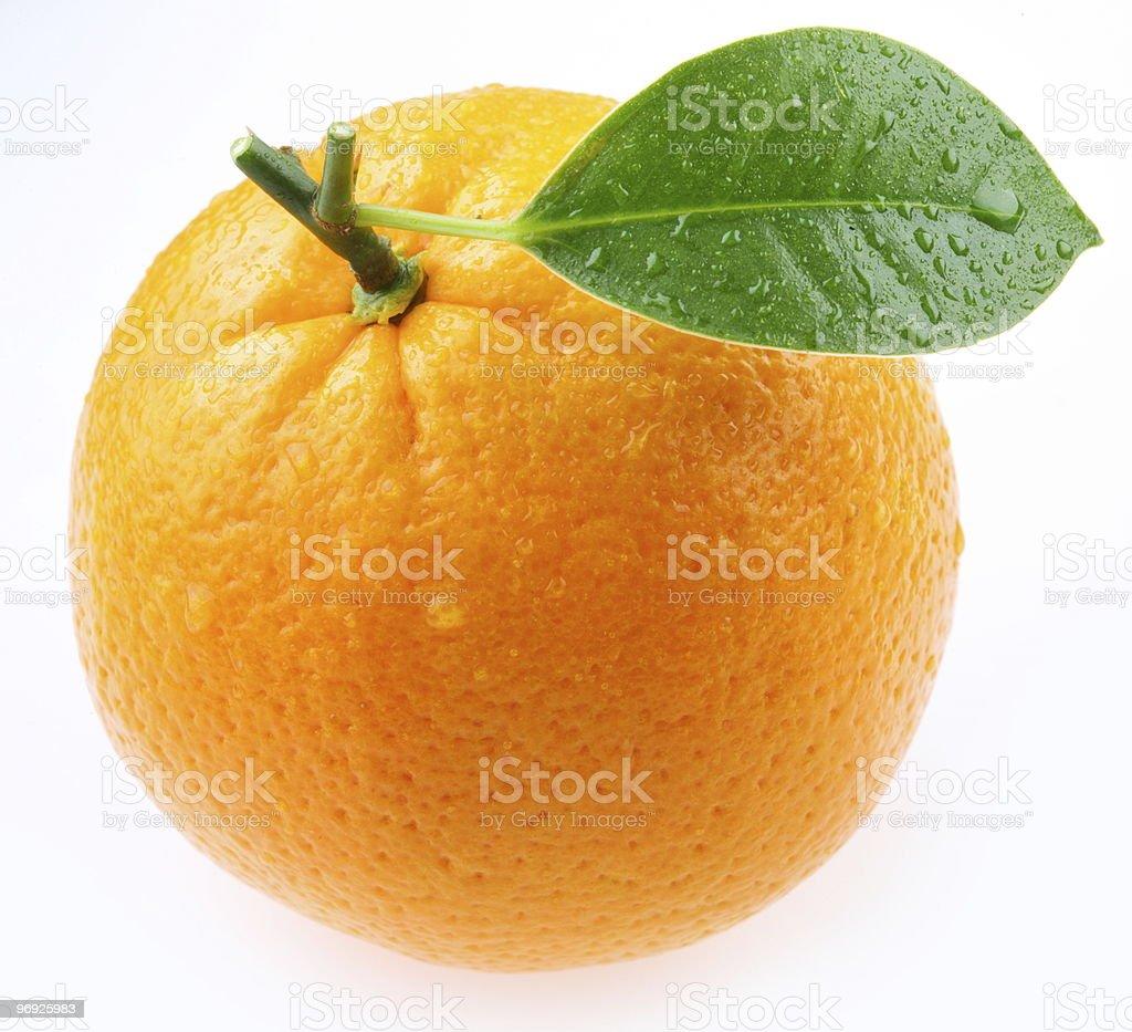 ripe orange with leaf royalty-free stock photo