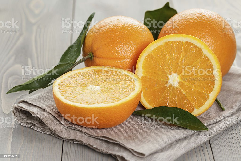 ripe oranges on wooden table stock photo