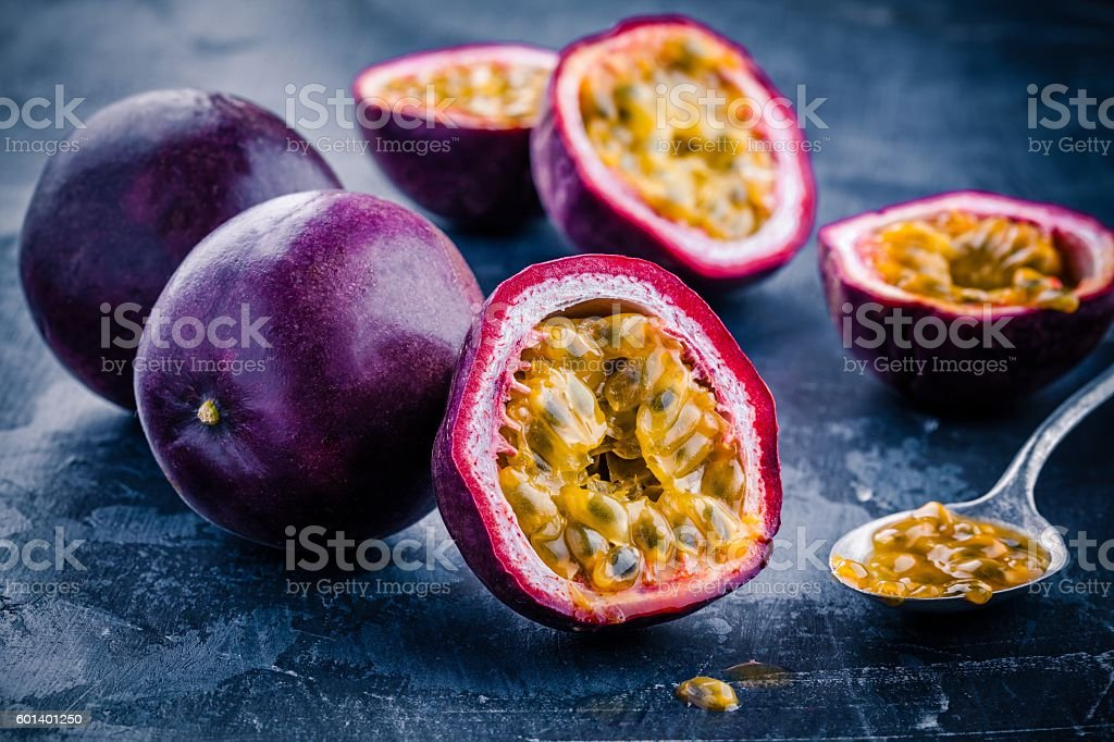 ripe organic passion fruit stock photo