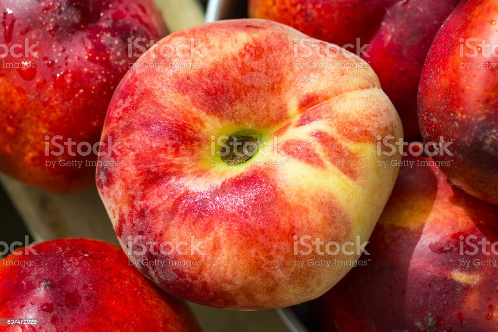 Ripe organic red nectarines, saturn peach on wood garden box in aluminum bowl, bright sunlight, top view, summer, freshness, natural authentic style stock photo