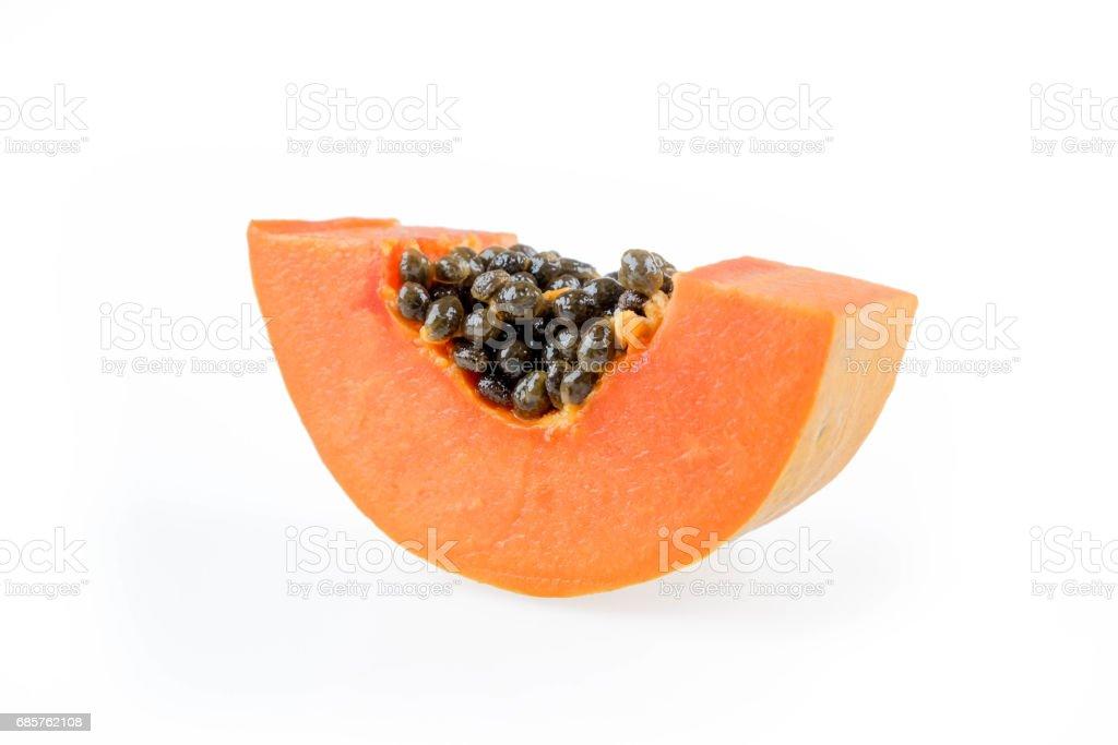 ripe papaya isolated on the white background. zbiór zdjęć royalty-free