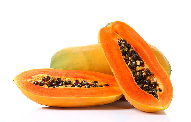 Ripe papaya isolated on white stock photo