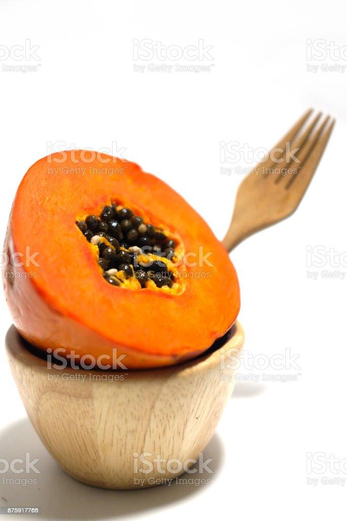 Ripe papaya on white background stock photo