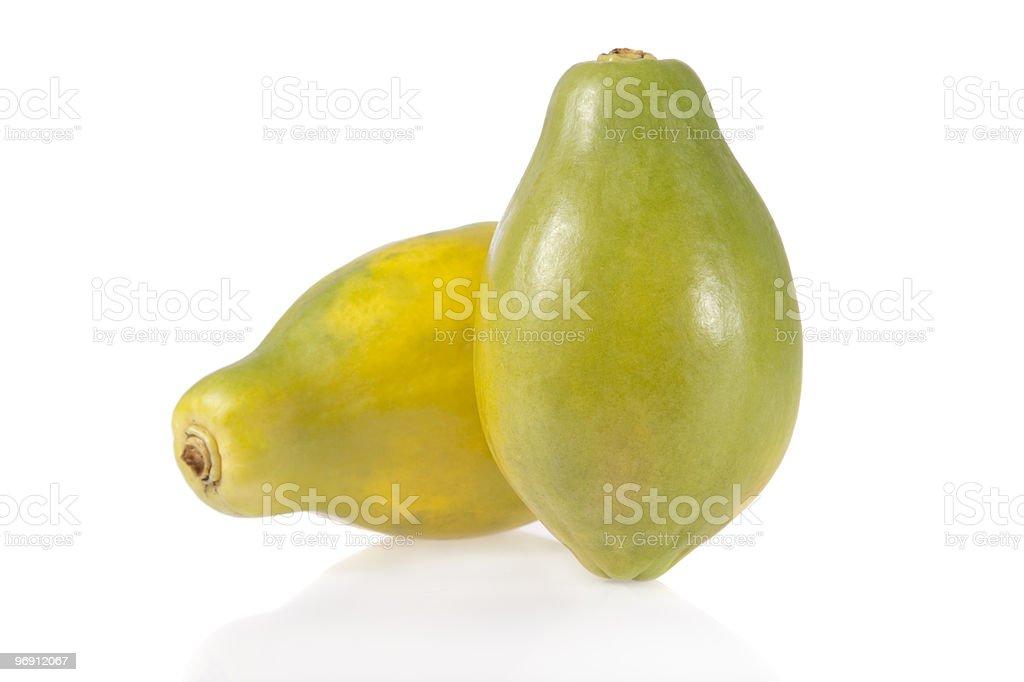 Ripe papayas isolated on white background royalty-free stock photo