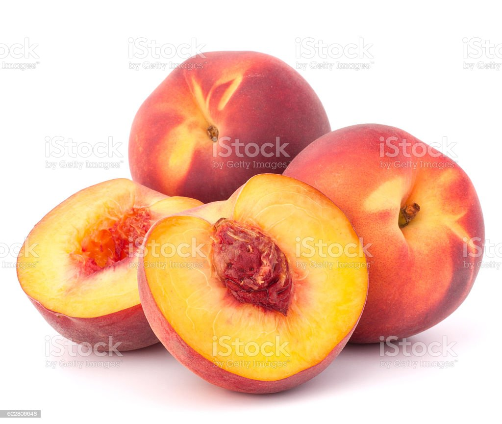 Ripe peach fruit stock photo